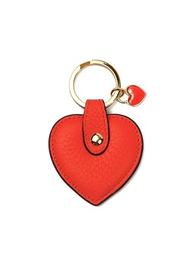 Leather & Paper Deri Kalp Anahtarlık Kırmızı
